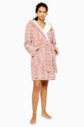 Topshop Womens Blush Pink Swirl Textured Dressing Gown - Blush