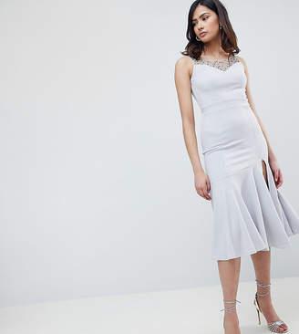 Little Mistress Tall Beaded Midi Dress With Peplum Hem Detail