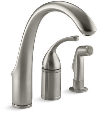 """Kohler Fort 3-Hole Remote Valve Kitchen Sink Faucet with 9"""" Spout with Matching Finish Sidespray"""