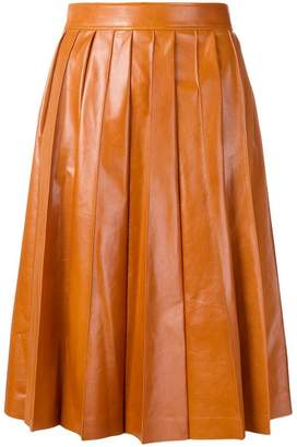 Bottega Veneta shiny pleated leather skirt