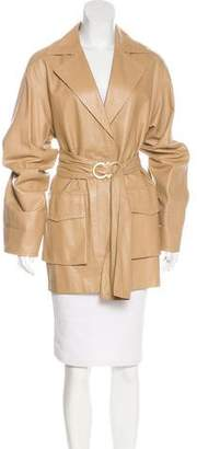 Salvatore Ferragamo Leather Short Coat