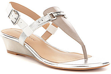 Antonio Melani Antonio Melani Amirah Metallic Leather T-Strap Slingback Wedge Sandals