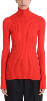 Jil Sander Turtle Rib Red Wool Sweater