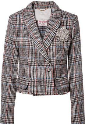 ADAM by Adam Lippes Cropped Embellished Harris Tweed Blazer - Gray