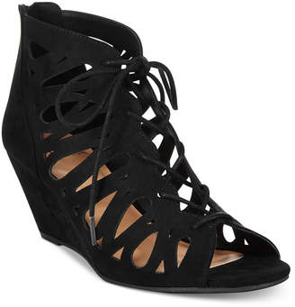 Material Girl Harlie Lace Up Wedge Sandals