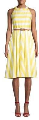 Eliza J Halterneck Striped Fit Flare Dress