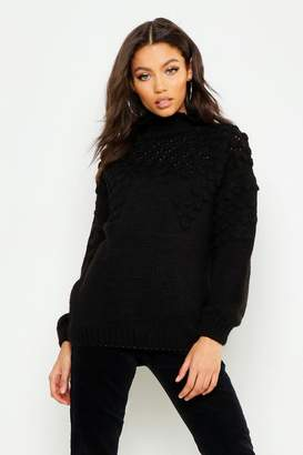 boohoo Petite Bobble Front Chunky Roll Neck Sweater
