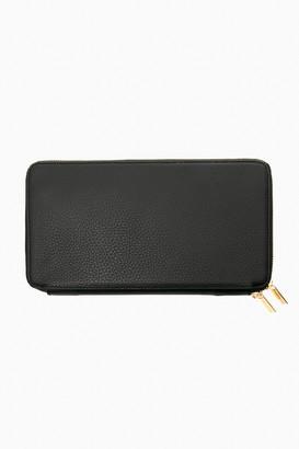 Neely & Chloe Black Pebble Leather Travel Wallet