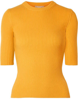 Michael Kors Ribbed Cashmere-blend Sweater - Yellow