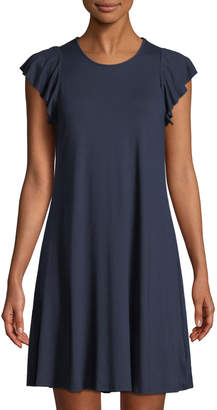 Three Dots Ruffle-Sleeve Jersey Dress