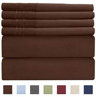 +Hotel by K-bros&Co King Size Sheet Set - 6 Piece Set - Hotel Luxury Bed Sheets - Extra Soft - Deep Pockets - Easy Fit - Breathable & Cooling Sheets - Wrinkle Free - Brown Bed Sheets - Chocolate Kings Sheets - 6 PC
