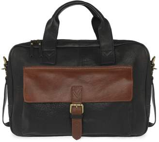 VIDA VIDA - Wandering Soul Black & Tan Leather Laptop Bag