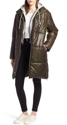 KENDALL + KYLIE Puffer Coat with Sweatshirt Hoodie