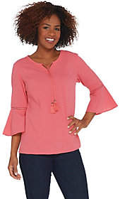 Denim & Co. Crinkle Gauze Bell Sleeve Top withDot Lace Detail