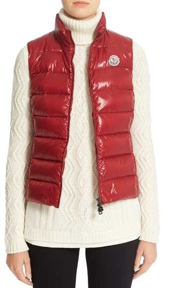 Moncler Women's Moncler Ghany Water Resistant Shiny Nylon Down Puffer Vest