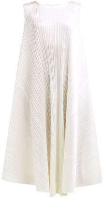 Pleats Please Issey Miyake Pleated Trapeze Cut Midi Dress - Womens - White