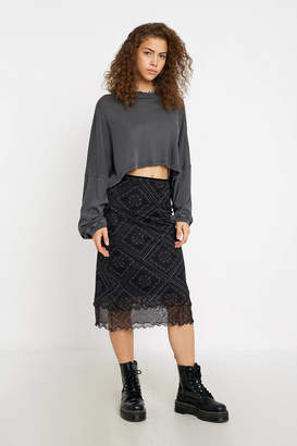 Urban Outfitters Tile Print Double Layer Mesh Midi Skirt