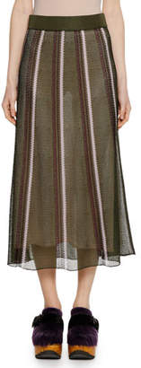 Marni Open-Weave Stripe Knit Ankle-Length Skirt