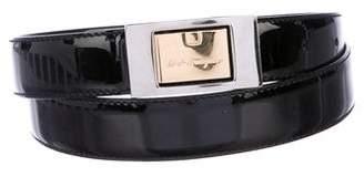 Salvatore Ferragamo Logo Patent Leather Belt