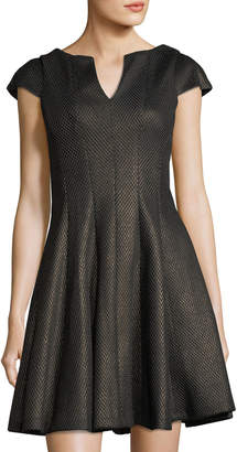 Julia Jordan Metallic-Net Fit-&-Flare Dress