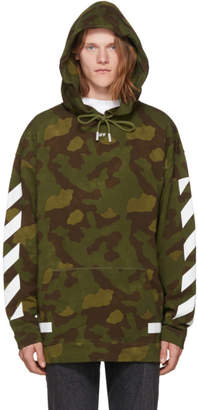 Off-White Green Camo Diagonal Arrows Over Hoodie
