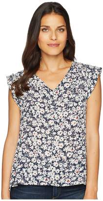Nine West Floral Printed V-Neck Blouse Women's Blouse