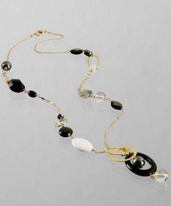Mashka black multi-beaded long Y-necklace