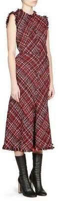 Alexander McQueen Sleeveless Tweed Midi Dress
