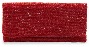 Moyna Beaded Flap-Top Clutch Bag, Wine