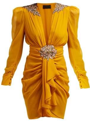 Dundas - Floral Embroidered Silk Chiffon Mini Dress - Womens - Yellow Multi