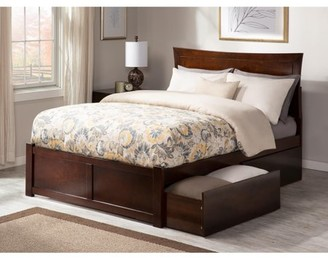 Atlantic Furniture Metro Platform Bed with Flat Panel Foot Board and 2 Urban Bed Drawers in, Multiple Colors and Sizes
