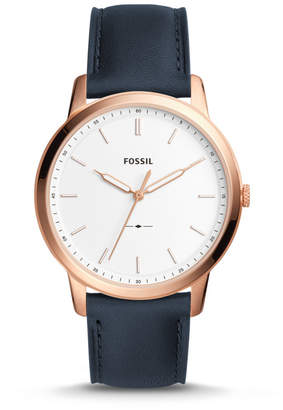 Fossil The Minimalist Slim Three-Hand Navy Leather Watch