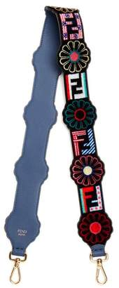 Fendi Strap You Logo And Flower Print Velvet Bag Strap - Womens - Black Multi