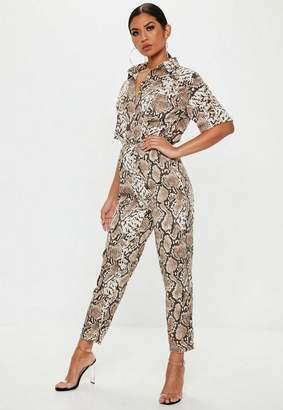 Missguided Brown Snake Print Shirt Romper