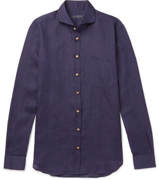Thom Sweeney Slim-Fit Cutaway-Collar Linen-Chambray Shirt