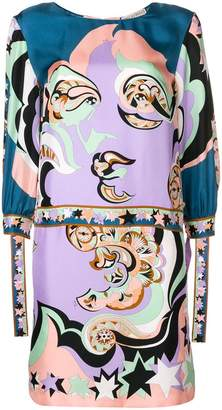 Emilio Pucci multi printed cuffed shift dress