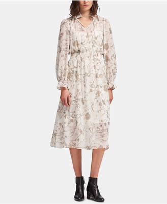 DKNY Printed Tie-Neck Maxi Dress