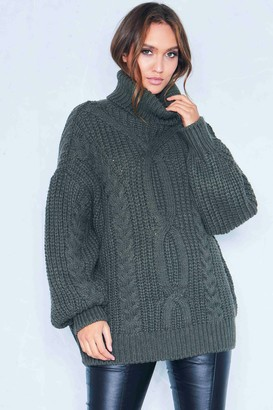 88ce39c60 Missy Empire Missyempire Francesca Khaki Cable Knit Roll Neck Oversized  Jumper