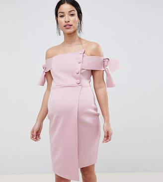 Asos DESIGN Maternity bardot tie sleeve button wrap mini dress