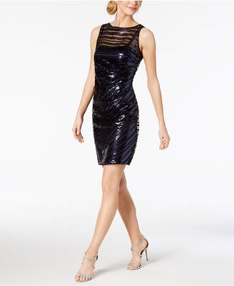 Vince Camuto Sequined-Stripe Sheath Dress