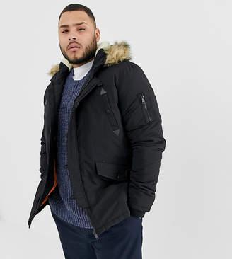 Brave Soul PLUS Parka Jacket with Faux Fur Trim Hood
