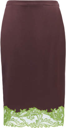 Versace Lace-Trimmed Silk-Satin Skirt Size: 44