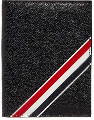Thom Browne Stripe pebble grain leather passport holder