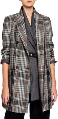 Brunello Cucinelli Plaid Tropical-Wool Overcoat