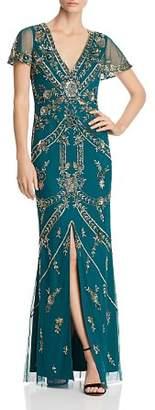 Aidan Mattox Embellished Slit-Sleeve Gown