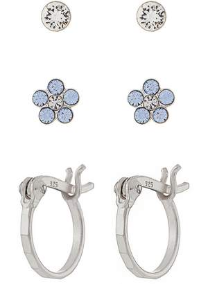fe1bd581f Accessorize St x3 Crystal Flower And Hoop Set Earrings - Silver