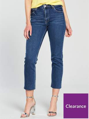 Miss Selfridge Straight High Rise Jean - Mid Blue