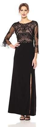 Adrianna Papell Women's Ruffle Sleeve Long Beaded Gown with Nude Illusion,2