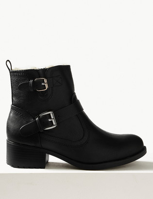 Marks and Spencer Block Heel Biker Ankle Boots