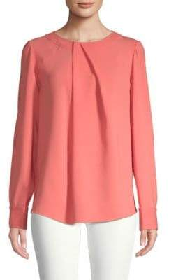 Oscar de la Renta Long-Sleeve Stretch-Silk Blouse